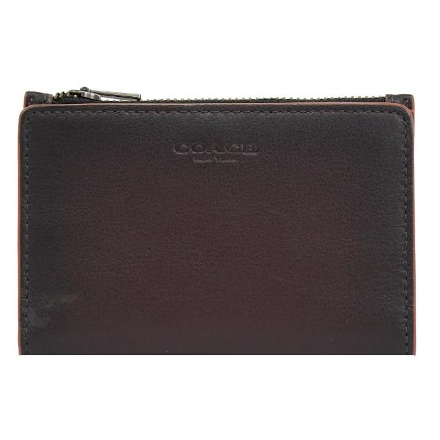 【COACH】經典烙印LOGO全皮革對折信用卡零錢夾(深棕)