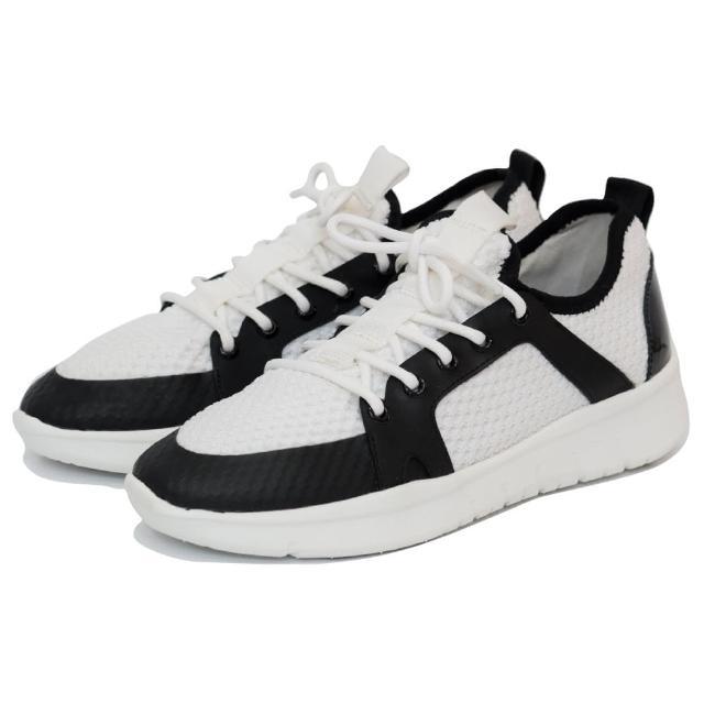 【WYPEX】簡單黑白拼色綁帶休閒鞋 男女運動鞋(超輕量舒適)