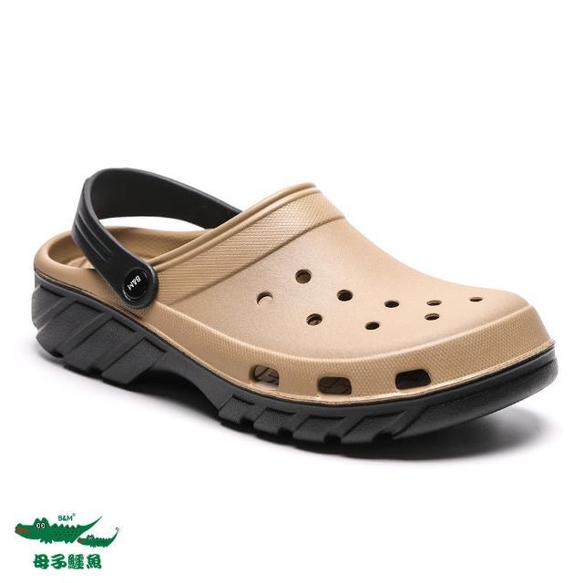 【母子鱷魚】兩穿式水陸雙色洞洞鞋-卡其