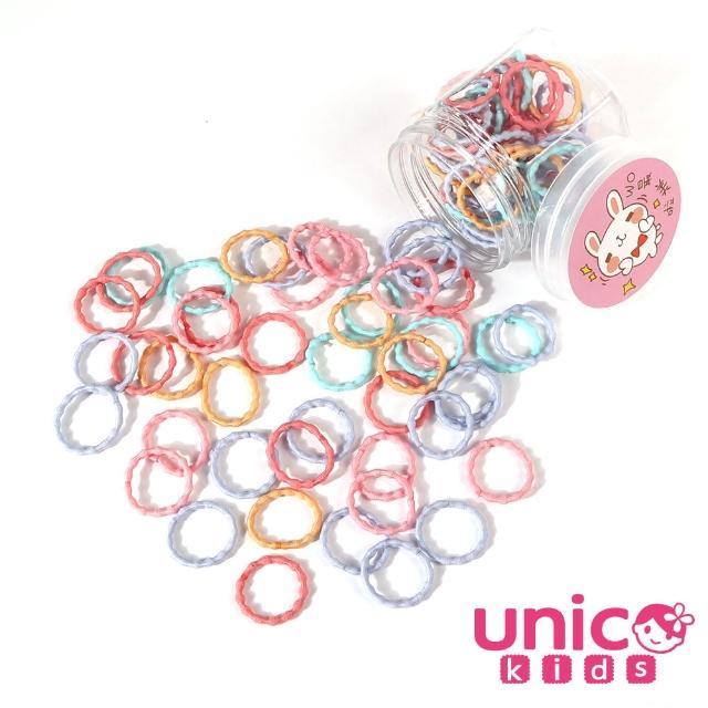 【UNICO】兒童少髮量甜甜百搭100條罐裝髮圈-馬卡龍甜甜風(配件/髮飾/Baby)