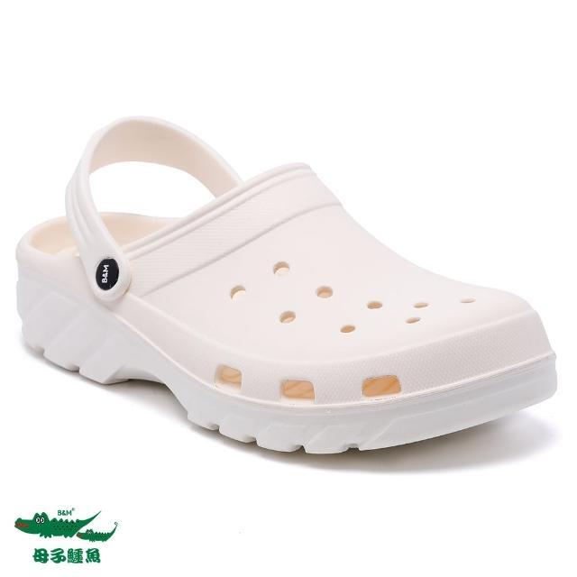 【母子鱷魚】兩穿式水陸雙色洞洞鞋-白