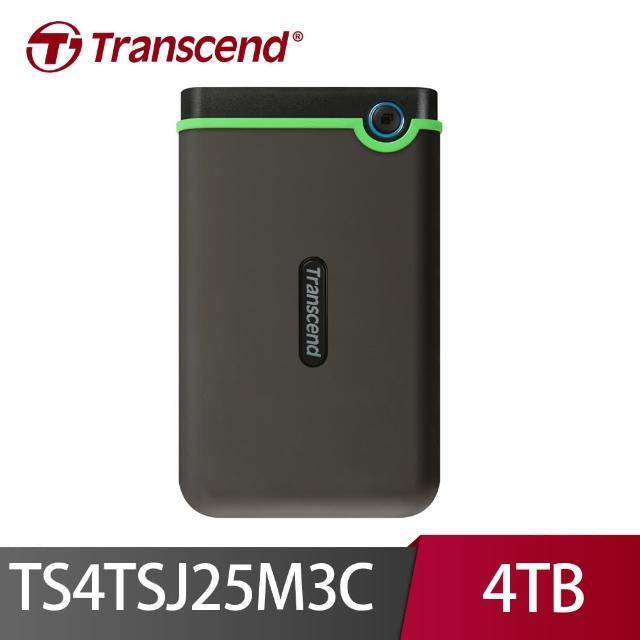 【Transcend 創見】4TB 2.5吋 軍規抗震加密外接式硬碟(StoreJet M3 Type C TS4TSJ25M3C)