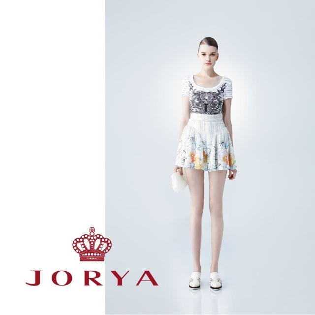 【JORYA】WeekendG2201905橫條紋漸層印花黑白圓方領短袖上衣