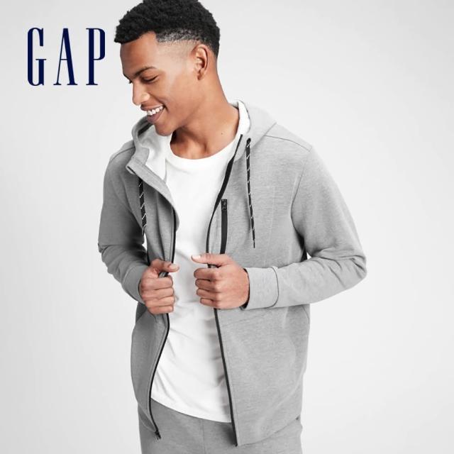 【GAP】男裝 簡約風格素色針織拉鍊連帽外套(608028-灰色)