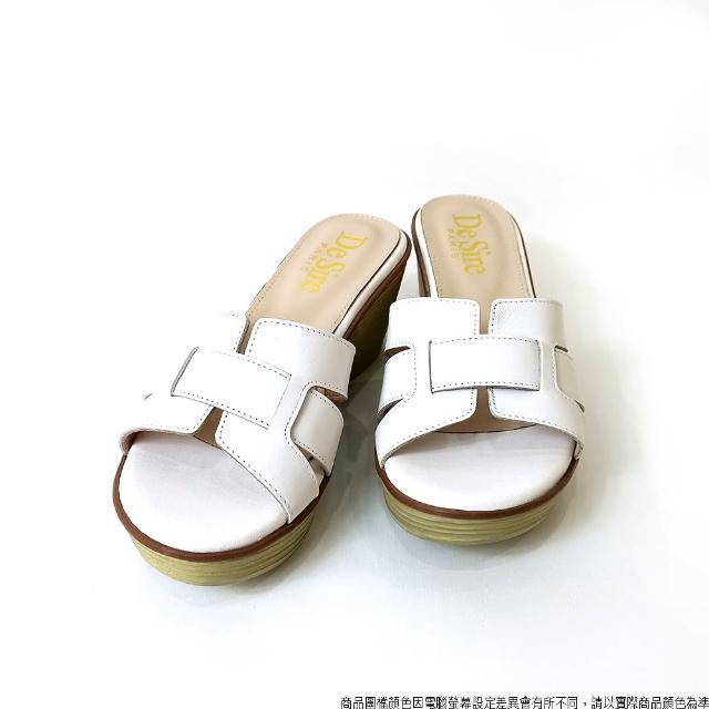【DeSire】質感真皮編織造型中跟涼拖鞋-白色(1137111-90)