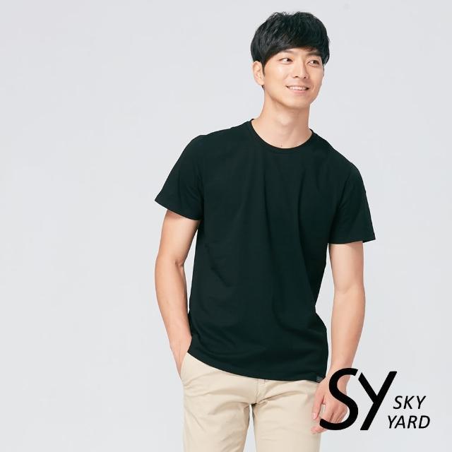 【SKY YARD】舒適好棉素面短袖圓領T恤(黑色)