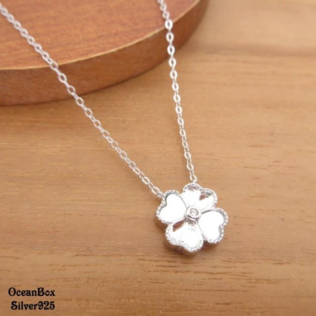 【海洋盒子】優雅漂亮白母貝鑲鑽幸運草925純銀項鍊(925純銀外鍍專櫃級正白k)