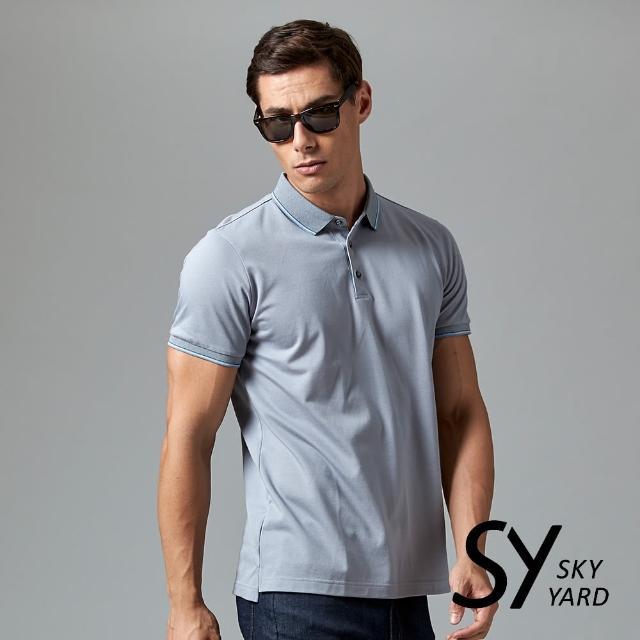 【SKY YARD】素色短袖配條領短袖POLO衫(灰色)