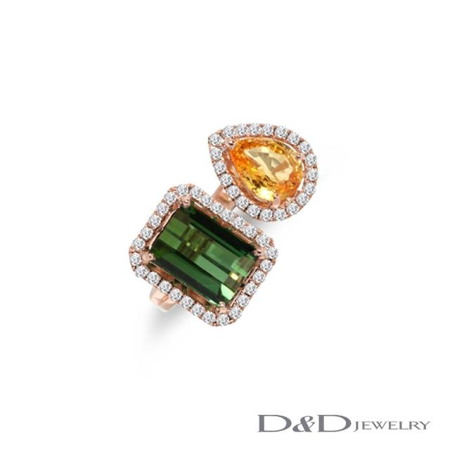 【D&D JEWELRY】璀璨幸福 天然碧璽黃寶鑽戒(14K)