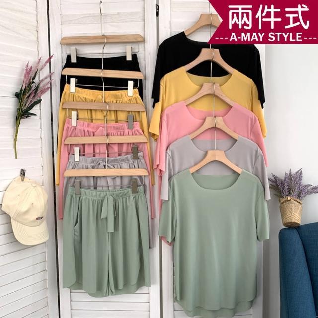 【Amay Style 艾美時尚】女裝 居家服 冰絲涼感休閒短褲睡衣套裝(6色.預購)