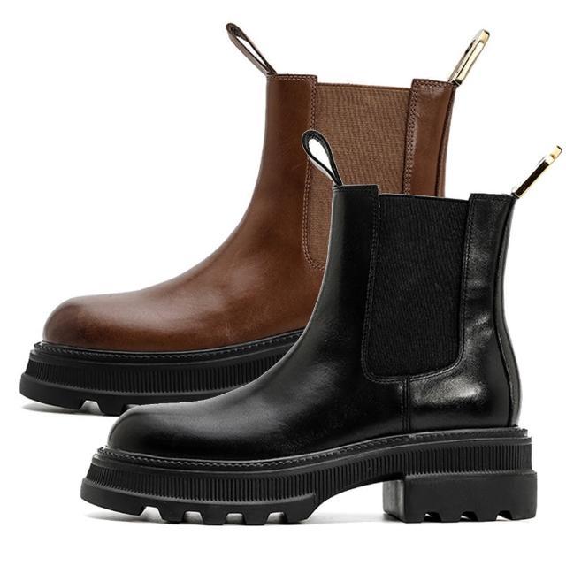 【Sp house】追求流行彈性圓頭粗跟真牛皮短靴(2色可選)