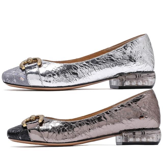 【Sp house】優雅金屬蛇紋方頭都會真皮娃娃鞋(2色可選)
