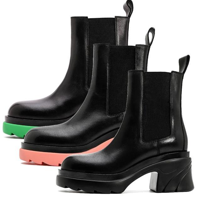 【Sp house】糖果階梯圓頭粗跟真牛皮個性短靴(3色可選)