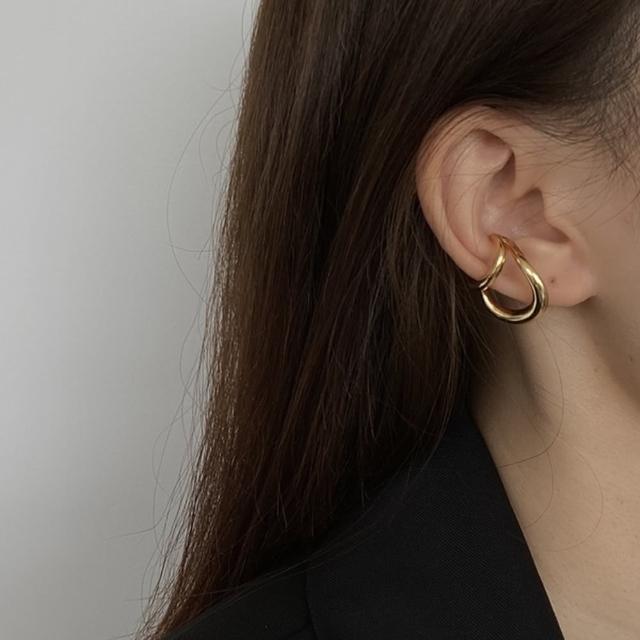 【Oni 歐妮】雙層疊戴耳掛 不對稱耳骨夾式耳環無耳洞耳扣(1個入)