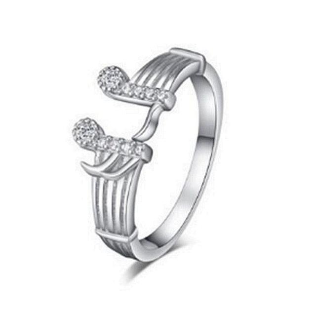 【米蘭精品】925純銀戒指鑲鑽銀飾(精緻亮眼音符造型情人節生日禮物女飾品73dx8)