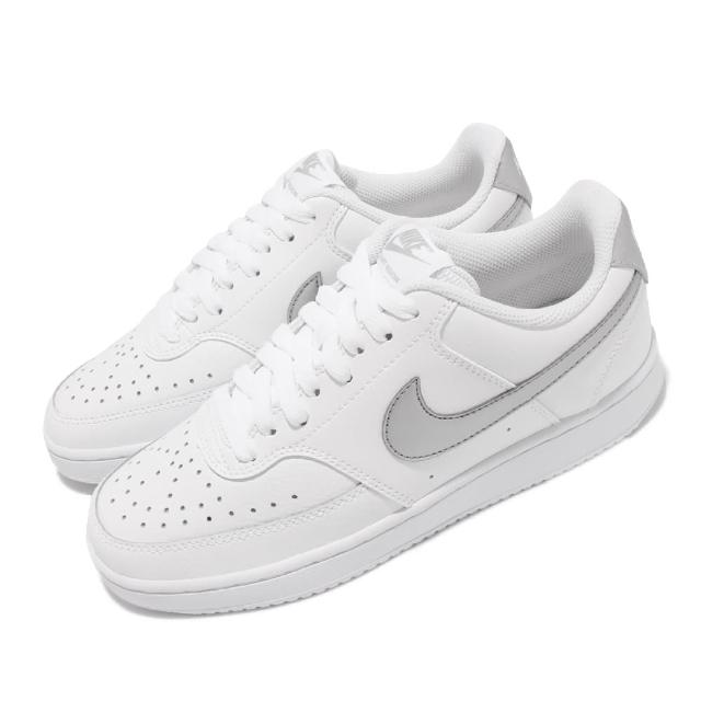 【NIKE 耐吉】休閒鞋 Court Vision 運動 女鞋 經典款 低筒 小白鞋 舒適 球鞋 穿搭 白 灰(CD5434-111)