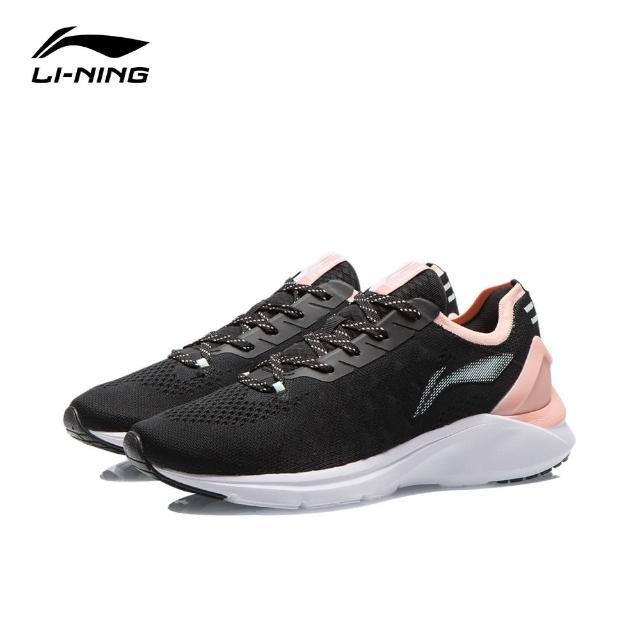 【LI-NING 李寧】雲雀女子一體織休閒慢跑鞋 黑色(ARSR024-1)