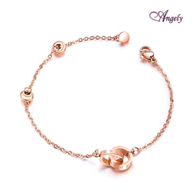 【Angely】羅馬數字環環相扣鈦鋼手鍊-玫瑰金