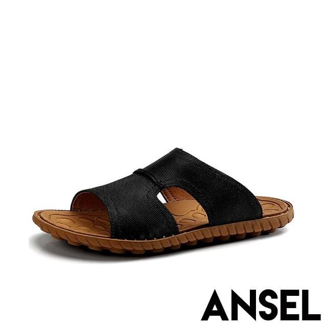 【ANSEL】真皮頭層牛皮細緻車線造型休閒拖鞋-男鞋(黑)