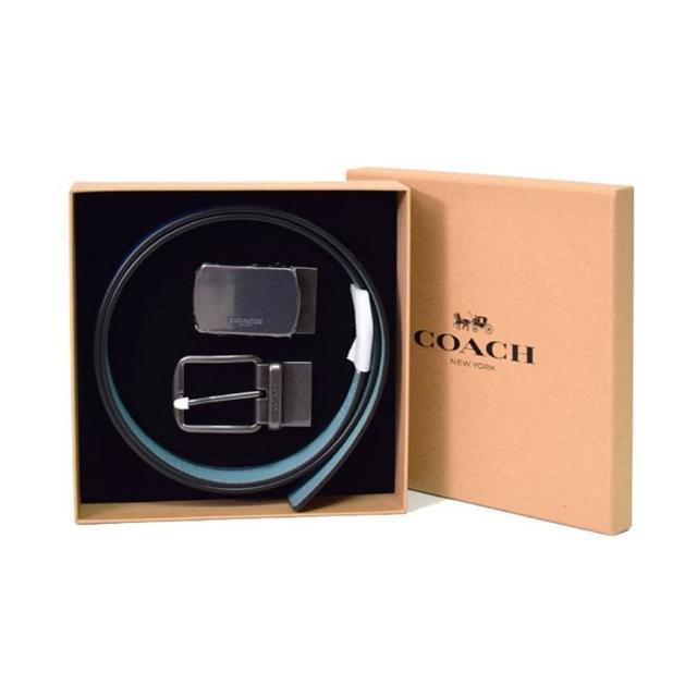 【COACH】小牛皮雙面腰帶Jewel Blue x Marine(禮盒款 / 附提袋)