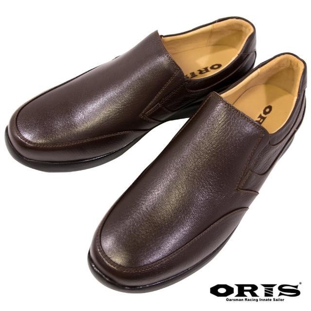 【oris 帆船鞋】荔枝真皮輕盈彈性皮鞋-深咖-S1261N03(真皮/荔枝皮/皮鞋/輕量化)