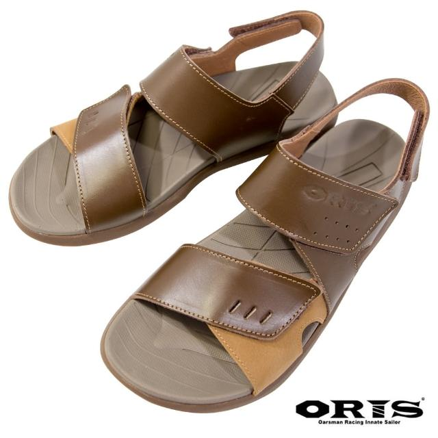 【oris 帆船鞋】三段式黏扣帶防滑真皮涼鞋-咖-S1322N03(真皮/三段黏扣帶/防滑/涼鞋)