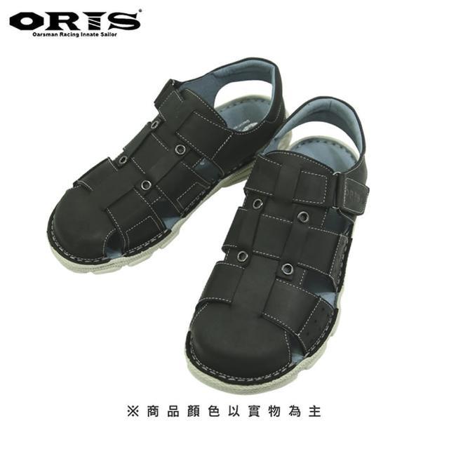 【oris 帆船鞋】ORIS輕量真皮包頭魔鬼氈涼鞋-黑-S0301C01(真皮/手工/涼鞋)