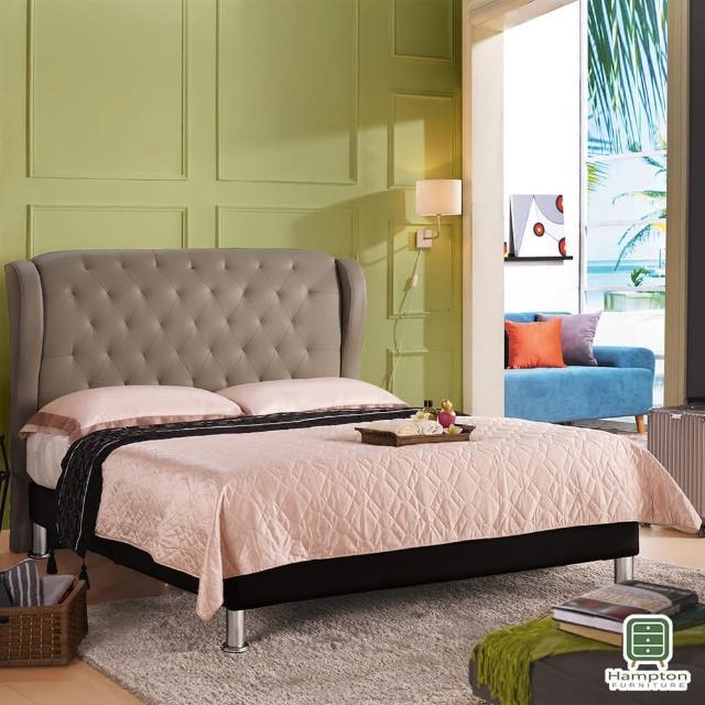 【Hampton 漢汀堡】華萊士6尺皮面雙人床架-駝色(一般地區免運費/雙人床/床頭/床底)