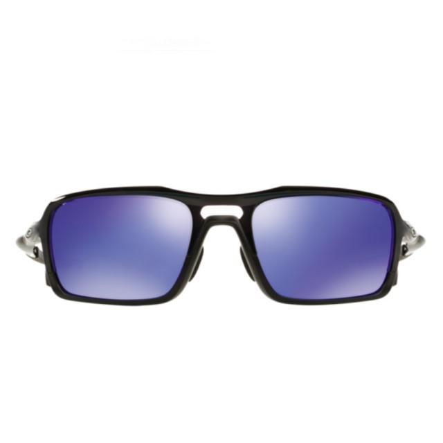 【Oakley】Triggerman黑色鏡框紫色鏡片運動太陽眼鏡(9314-0456)