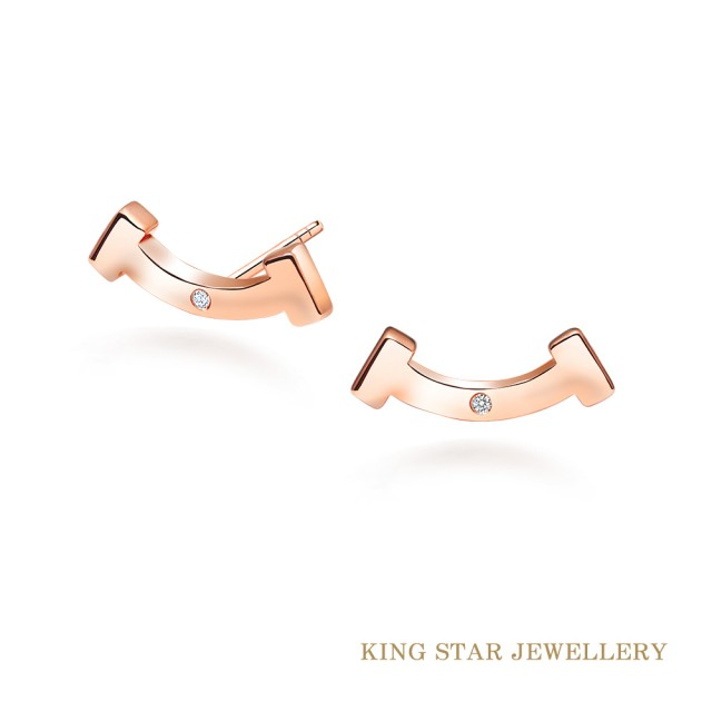 【King Star】幸運微笑18K玫瑰金鑽石耳環