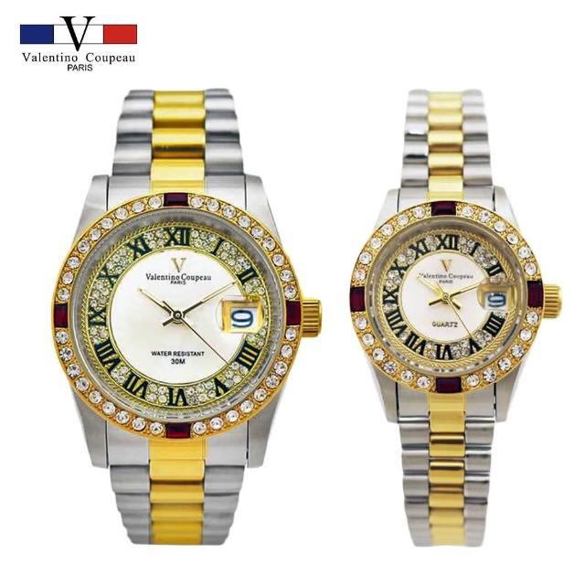 【Valentino Coupeau】四方紅鑽羅馬數字金銀不鏽鋼殼帶防水男女款手錶-e(范倫鐵諾 古柏 VCC)