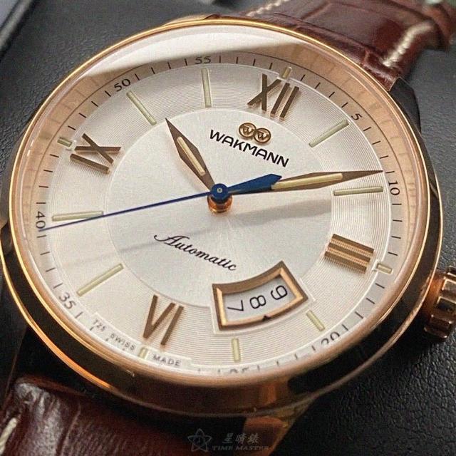 WAKMANN威克曼男女通用錶型號WA00003(銀白色錶面玫瑰金錶殼咖啡色真皮皮革錶帶款)