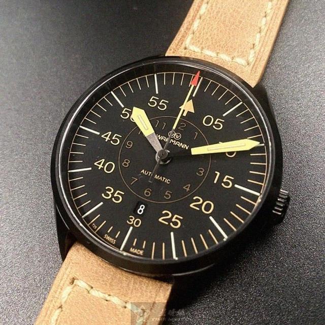 WAKMANN威克曼男女通用錶型號WA00001(黑色錶面黑錶殼咖啡色厚式真皮皮革錶帶款)