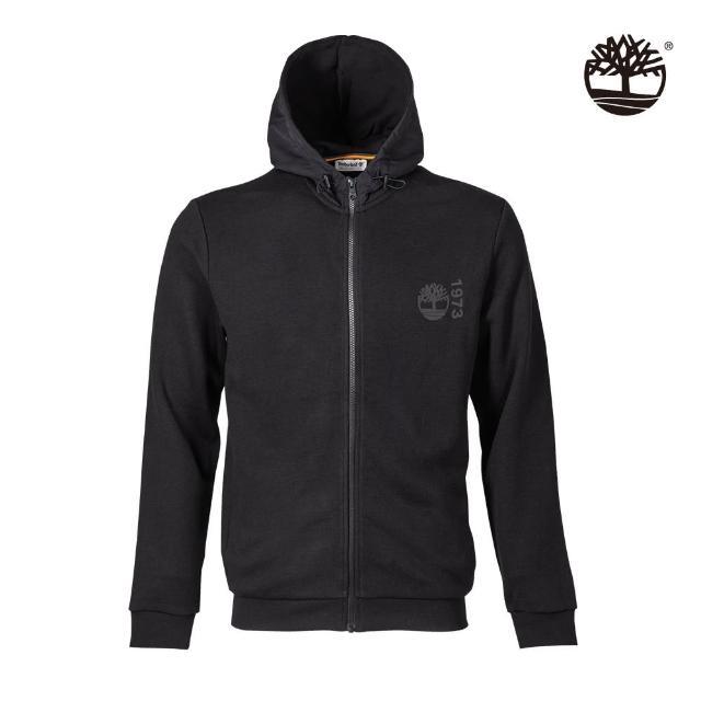 【Timberland】男款黑色有機棉Re-Comfort EK+標誌連帽外套(A431C001)