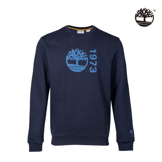 【Timberland】男款深寶石藍有機棉Re-Comfort EK+標誌大學T(A42YR433)