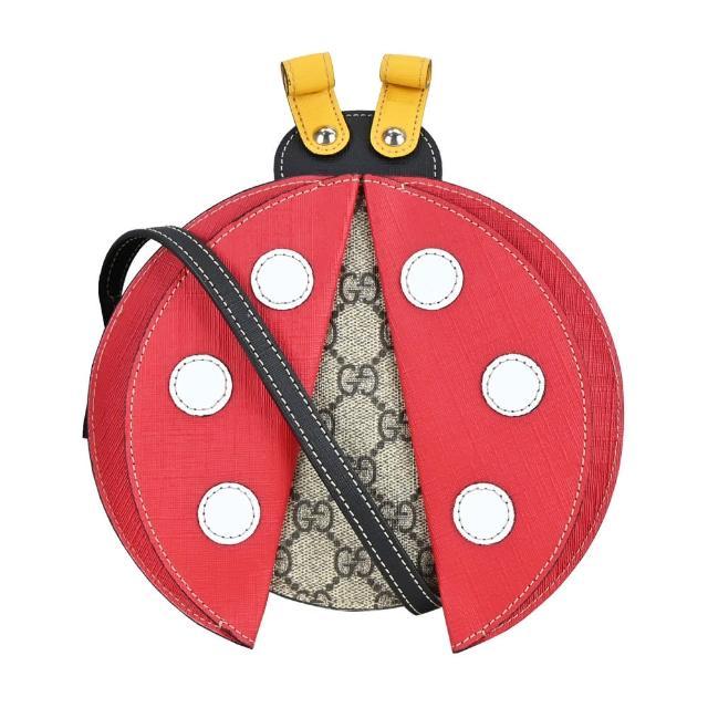 【GUCCI 古馳】瓢蟲造型GG 帆布斜背包(卡其)