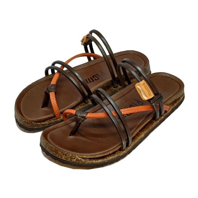 【皮克米】交叉皮繩 足弓墊厚底夾腳涼拖鞋 - 橙咖(涼拖兩穿)