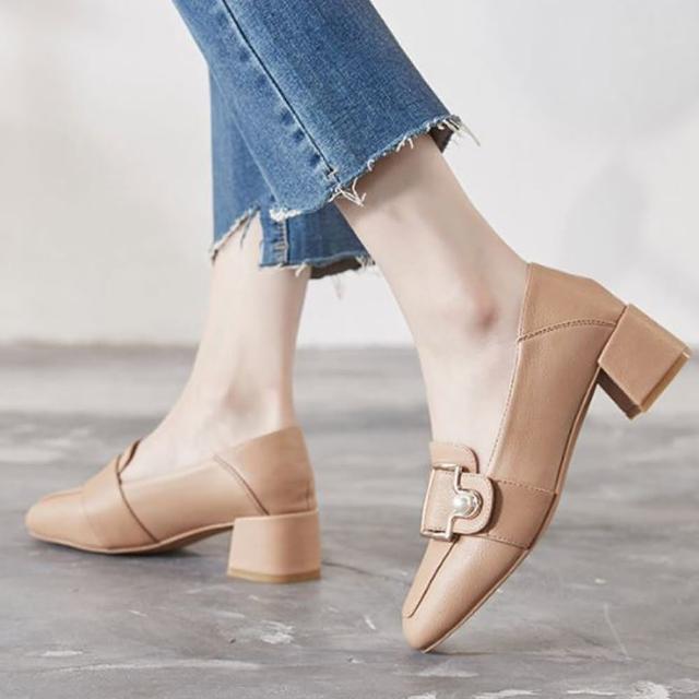 【LN】現+預 韓版方頭兩穿珍珠粗跟鞋(方頭/珍珠/粗跟/樂福鞋)