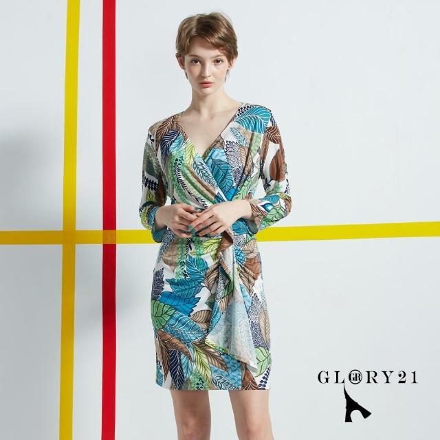 【GLORY21】新品-抓縐合身印花洋裝(綠色)