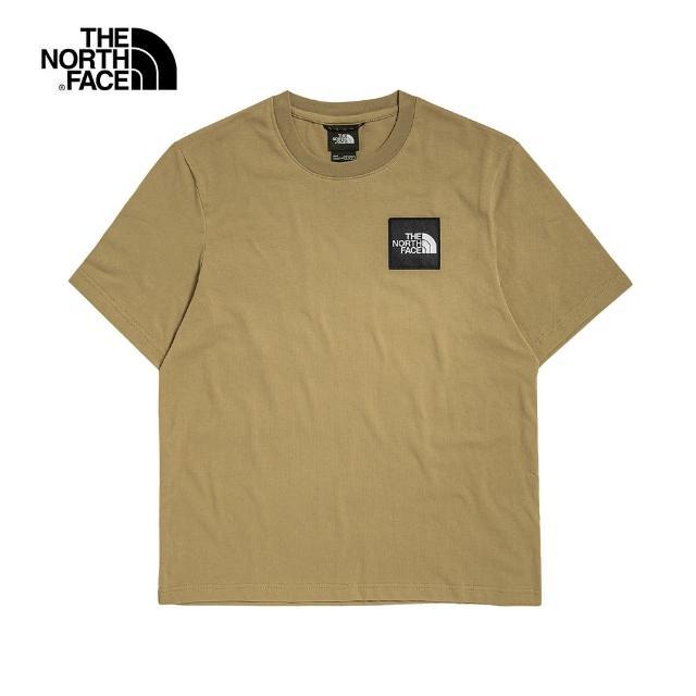 【The North Face】The North Face北面UE男款卡其色吸濕排汗品牌布標圓領短袖T恤|5AXHPLX