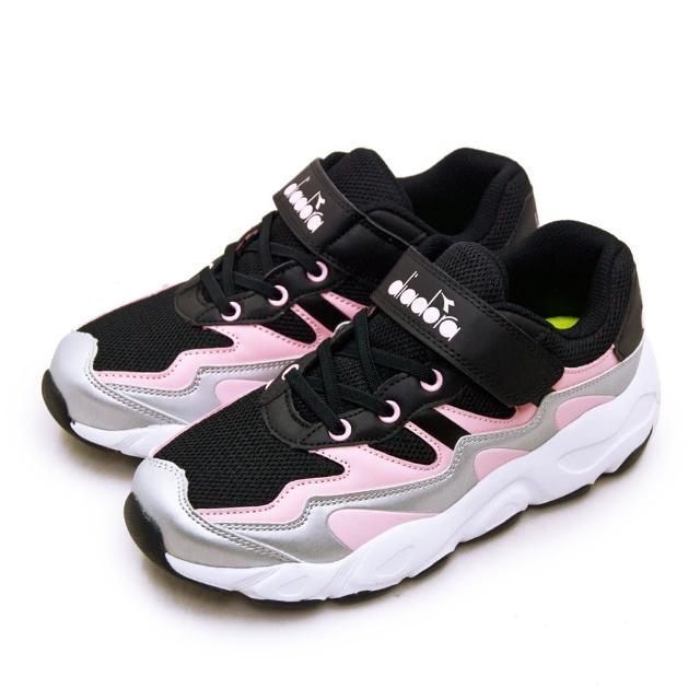 【DIADORA】大童 迪亞多那 22cm-24.5cm 輕量超寬楦避震慢跑鞋 復古老爹鞋系列(黑粉銀 11030)