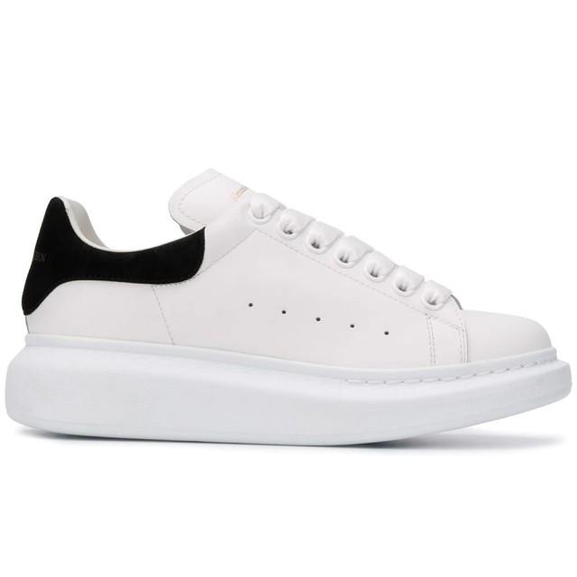 【Alexander McQueen】麥昆經典時尚百搭拼接黑色街頭休閒小白鞋(黑)