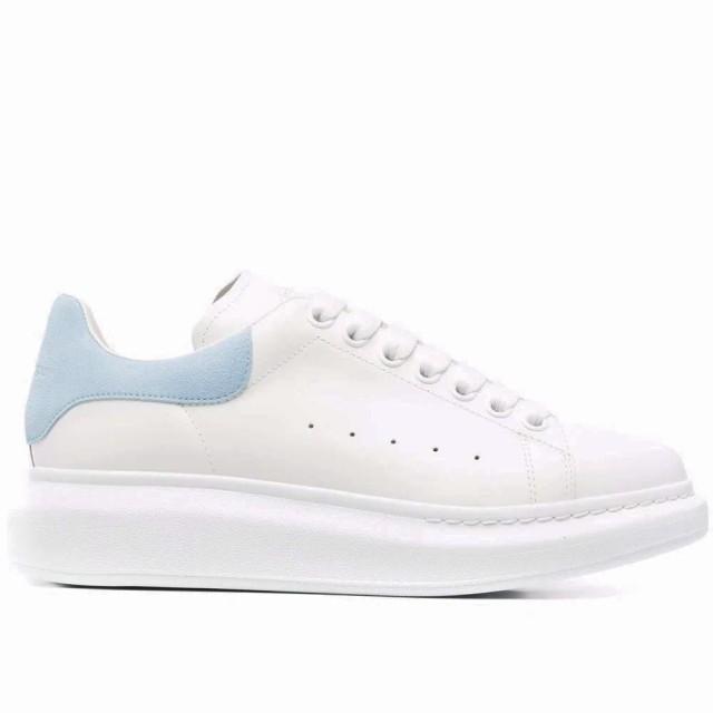 【Alexander McQueen】麥昆經典時尚百搭拼接水藍色街頭休閒小白鞋(水藍)