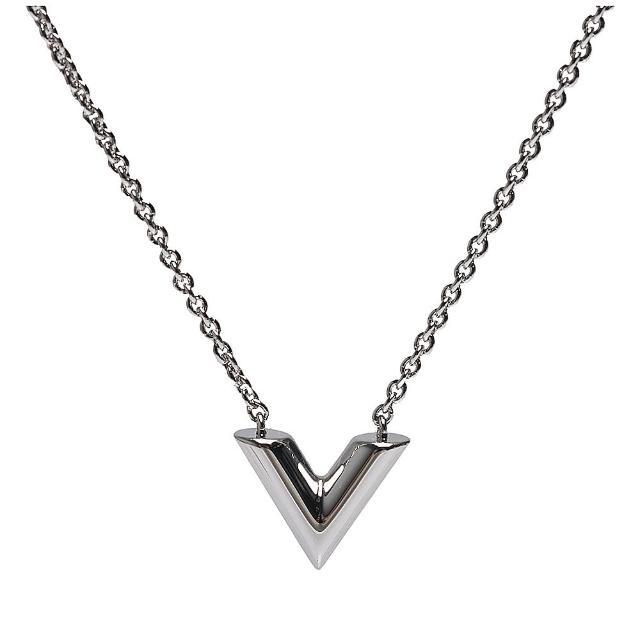 【Louis Vuitton 路易威登】M63197經典ESSENTIAL V字母黃銅吊墜項鍊(銀)
