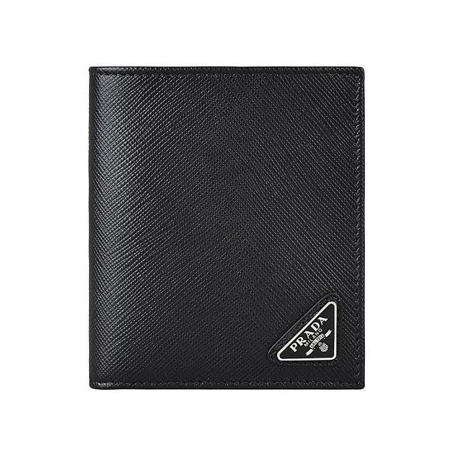 【PRADA 普拉達】PRADA三角牌LOGO防刮牛皮8卡對折短夾(黑)