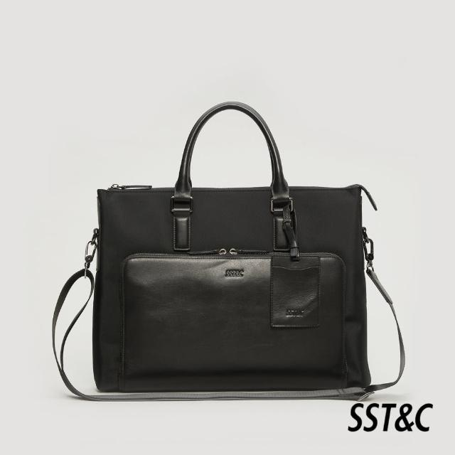 【SST&C】黑色帆布拼接公事包1512105001
