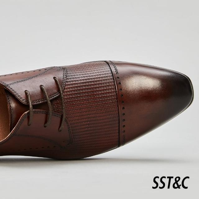 【SST&C】咖啡色壓紋德比鞋1312105004