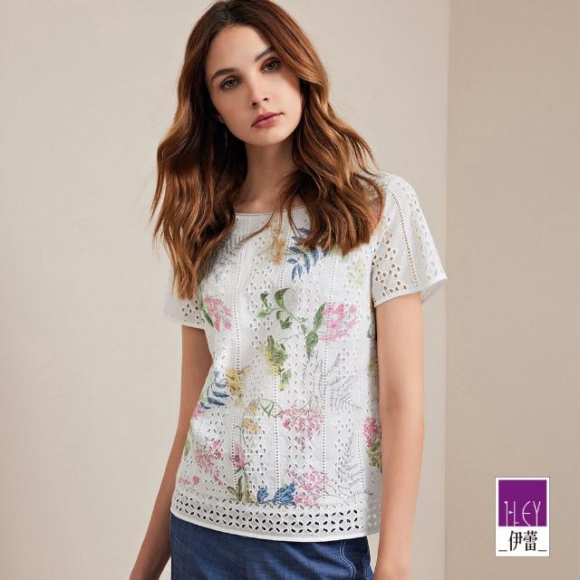 【ILEY 伊蕾】溫柔美麗花卉造型挑洞純棉上衣1212061475(白)