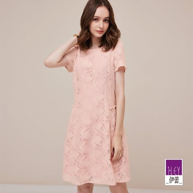 【ILEY 伊蕾】溫柔女力繩股蕾絲粉嫩系列洋裝1212037161(淺粉)