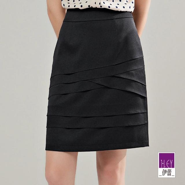 【ILEY 伊蕾】不規則層次交叉活片直筒窄裙1212012178(黑)